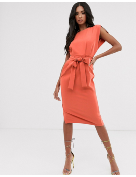 Asos Design Cap Sleeve Split Sleeve Midi Dress With Button Skirt by Asos Design