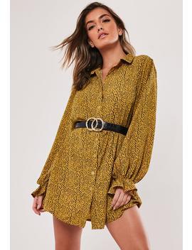 Mustard Dalmatian Print Frill Cuff Shirt Dress by Missguided