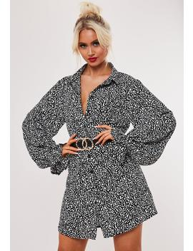 Black Dalmatian Frill Cuff Shirt Dress by Missguided