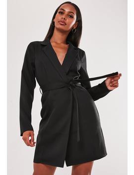 Black Wrap Tie Blazer Dress by Missguided