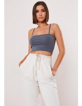 Grey Rib Straight Neck Crop Top by Missguided