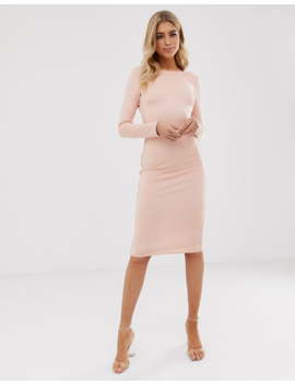 Asos Design Backless Long Sleeve Bandage Dress With Zip Detail by Asos Design
