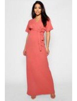 Maternity Crepe Wrap Maxi Dress Maternity Crepe Wrap Maxi Dress by Boohoo