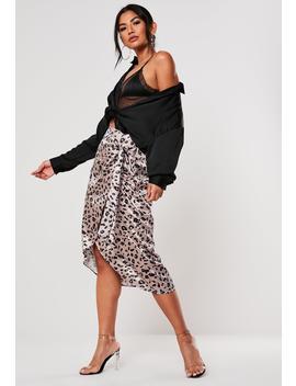 Petite Mauve Satin Animal Print Slip Skirt by Missguided