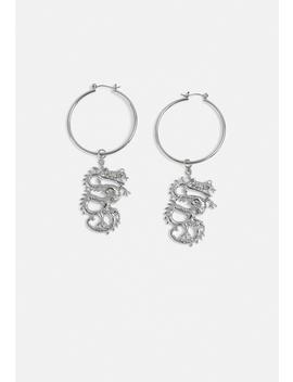 Silver Look Dragon Detail Hoop Earrings by Missguided