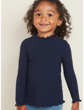 Fitted Ruffle Trim Rib Knit Top For Toddler Girls by Old Navy