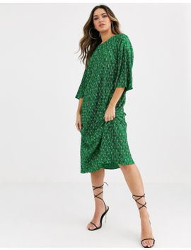 Asos Design Green Ditsy Print Midi Plisse Huge T Shirt Dress by Asos Design
