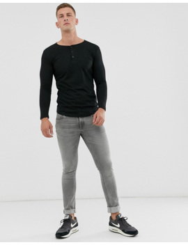 Soul Star Long Sleeve Henley Top In Black by T Shirt