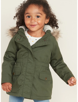Hooded Faux Fur Trim Twill Parka For Toddler Girls by Old Navy