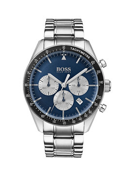 Blue Dial Chronograph Watch With Stainless Steel Bracelet by Boss