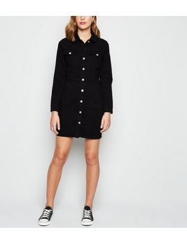 Black Long Sleeve Denim Bodycon Dress by New Look