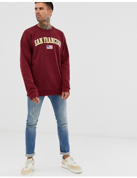 Only & Sons San Francisco Crew Neck Sweat In Burgundy by Only & Sons