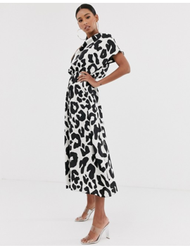 Asos Design High Neck Midi Dress In Mono Animal Print by Asos Design