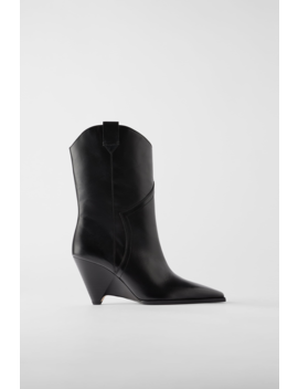 Heeled Leather Wedge Cowboy Boots Leather Shoes Woman by Zara