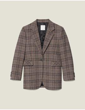 Checked Wool Blazer by Sandro Eshop