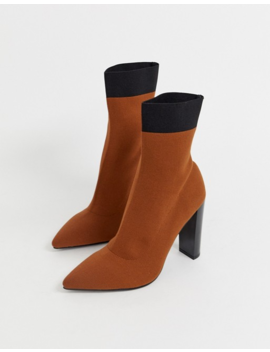 Asos Design   Enhance   Bottines Chaussettes En Maille à Talon Carré   Marron by Asos Design