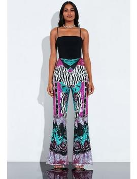 Peace + Love Zebra Print Embellished Flared Trousers by Missguided
