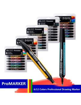Winsor&Newton Professional Marker Pen 6/12 Colors Double Side(Round Toe And Oblique) Drawing Design Marker Pen Art Supplies by Ali Express.Com