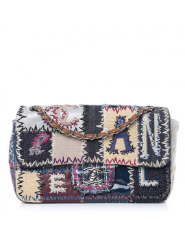 Chanel Denim Tweed Patchwork Medium Single Flap Multicolor by Chanel