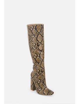 Beige Snake Print Calf Height Heeled Boots by Missguided