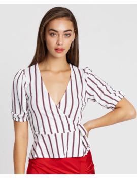 Striped Blouson Peplum Blouse by Miss Selfridge