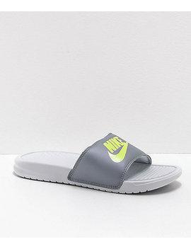 Nike Benassi Pure Platinum & Barely Volt Slide Sandals by Nike Sb