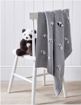 Panda Cotton Baby Blanket by The Little White Company