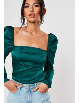 Green Satin Puff Sleeve Square Neck Crop Top by Missguided