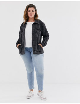 New Look Curve Oversized Acid Wash Denim Jacket In Black by New Look Curve