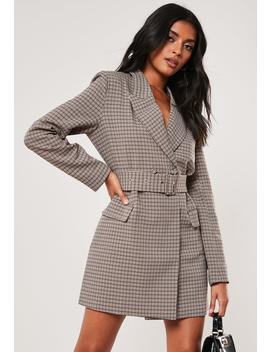 Brown Check Buckle Blazer Dress by Missguided