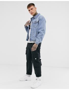 Синяя выбеленная джинсовая Oversize куртка Liquor N Poker by Liquor N Poker
