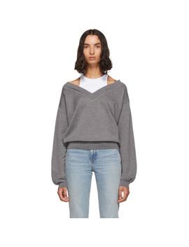 Grey & White Cropped Bi Layer V Neck Sweater by Alexanderwang.T