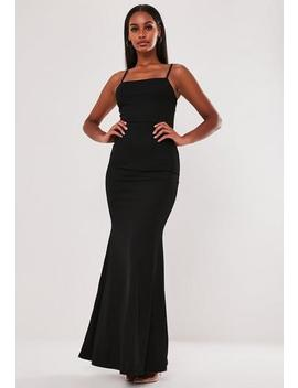 Black Square Neck Strappy Maxi Dress by Missguided
