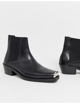 Черные кожаные ботильоны челси в стиле вестерн с металлической фурнитурой Asos Design by Asos Design