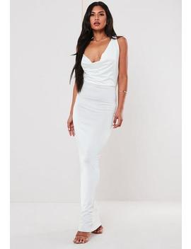 White Cowl Front Cross Strap Maxi Dress by Missguided