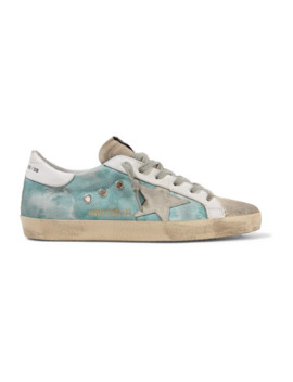 Superstar Distressed Tie Dyed Distressed Canvas, Leather And Suede Sneakers by Golden Goose