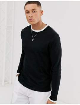 Asos Design Long Sleeve T Shirt With Crew Neck With Contrast Ringer In Black by Asos Design