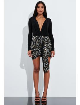 Peace + Love Black Animal Print Embellished Drape Mini Skirt by Missguided