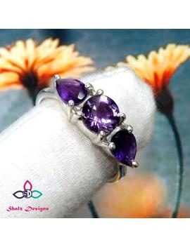 Amethyst Ring, Purple Gemstone Ring, Prong Set Ring, Anniversary Ring, Silver Ring, Three Stone Ring, Multi Stone Ring, Teardrop Ring, Ring by Etsy