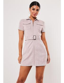Petite Mauve Faux Suede Belted Utility Mini Dress by Missguided
