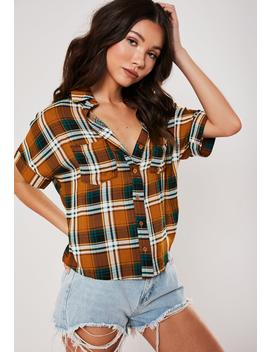 Rust Plaid Print Safari Shirt by Missguided