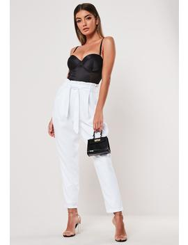 White Co Ord Paperbag Waist Cigarette Pants by Missguided