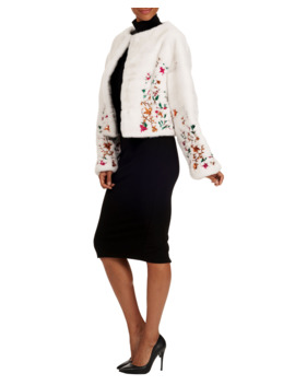 Floral Embroidered Mink Fur Bolero Jacket by Oscar De La Renta