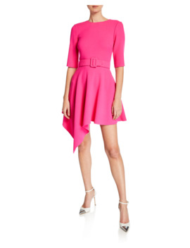 Asymmetric Short Sleeve Day Dress by Oscar De La Renta
