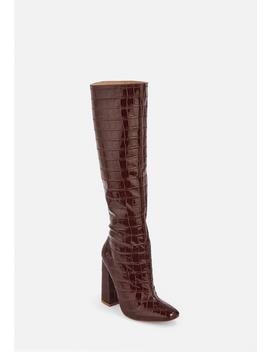 Burgundy Croc Calf Height Heeled Boots by Missguided