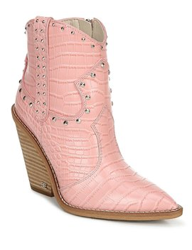 Iris 2 Croco Embossed &Amp; Studded Western Wedge Booties by Sam Edelman
