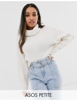 Asos Design Petite Fluffy Jumper With Cowl Neck In Recycled Blend by Asos Design