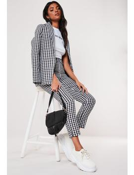 Black Gingham Co Ord Belted Cigarette Pants by Missguided