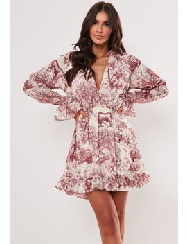 Red Floral Print Frill Plunge Smock Dress by Missguided