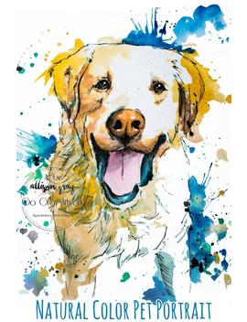 Custom Natural Tone Painted Pet Portrait   Personalized Watercolor Painting   Acrylic, Pen, Ink And Water Color   Dog Cat &Amp; Pet Art by Etsy